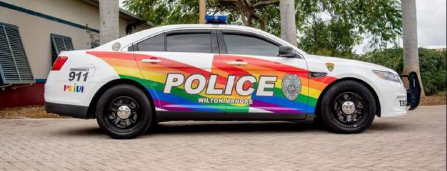 """""""Policing with Pride"""": South Florida Police Department Paint Patrol Car in Support of LGBT Pride Image"""